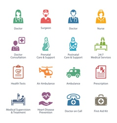Colored medical services icons - set 1 vector