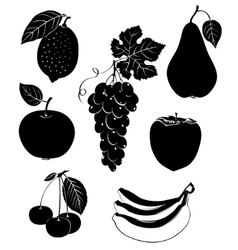 Set of silhouettes of fruit vector