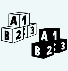 Alphabet cubes with abc letters and numerals vector