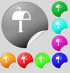 Mailbox icon sign set of eight multi colored round vector