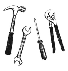 Hand sketch work tool vector