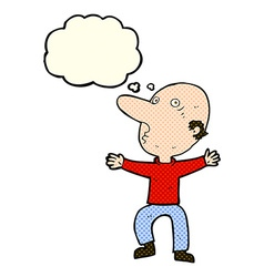 Cartoon worried middle aged man with thought vector