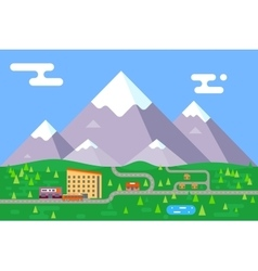 Spring summer mountain village hotel resort vector