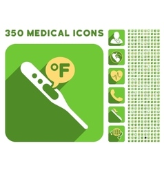Fahrenheit temperature icon and medical longshadow vector