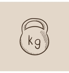 Kettlebell sketch icon vector