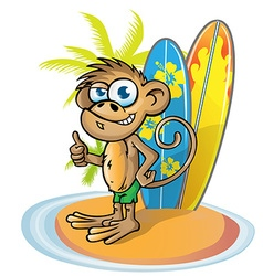 monkey surfer cartoon vector image