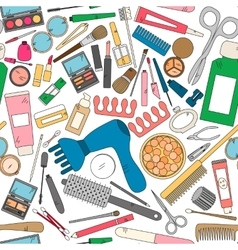 Seamless pattern with tools for makeup in bright vector image