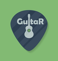 Guitar plectrum icon with the word guitar and the vector