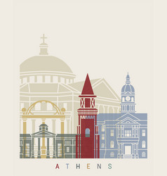 Athens ga skyline poster vector