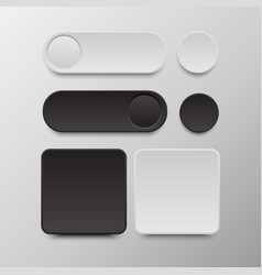 Black and white button set round and square vector