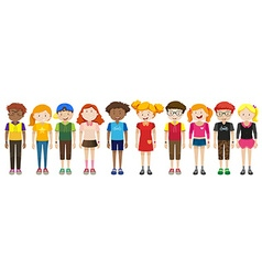 Boys and girls standing vector image vector image