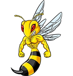 Cartoon of angry bee mascot isolated vector image vector image
