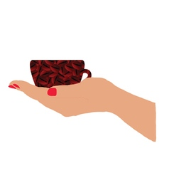 Cup of coffee in hand vector