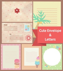 cute vintage pastel letters and envelope paper vector image vector image