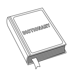 Dictionary icon in outline style isolated on white vector