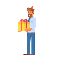 Festive office manager with gift box vector