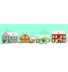 flat colorful winter houses landscape template vector image vector image