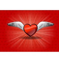 flaying heart on the red vector image