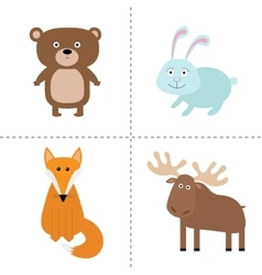 Forest animal set bear hare fox moose kids vector