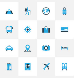 Journey colorful icons set collection of bed vector