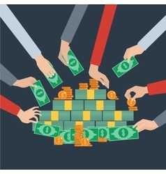 Long hands money grabbing flat poster vector