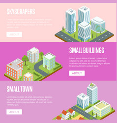 Modern business district isometric banners set vector
