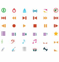 musical icons set vector image vector image