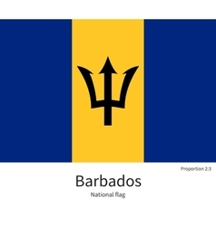 National flag of barbados with correct proportions vector