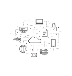 Network cloud computing vector image