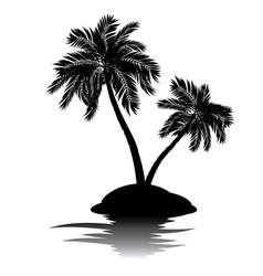 Palm tree on island silhouette4 vector