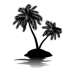 Palm tree on island silhouette4 vector