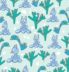 Pattern cartoon character monster and seaweed vector