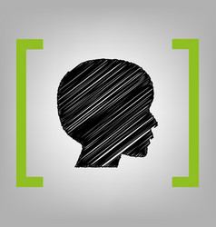 People head sign black scribble icon in vector