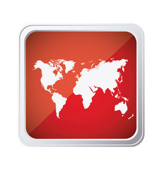 Red emblem earth planet map icon vector