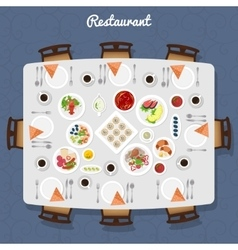 Restaurant table top view vector