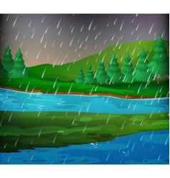 River scene on rainy day vector