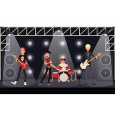 Rock band musicians perform on stage vector