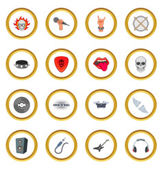 Rock music icons circle vector