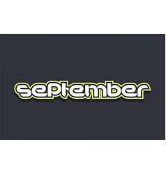 September word text logo design green blue white vector