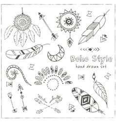 Set of boho chic style elements vector