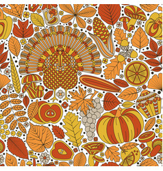 thanksgiving day seamless pattern various vector image
