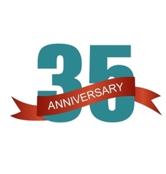 Thirty five 35 years anniversary label sign for vector