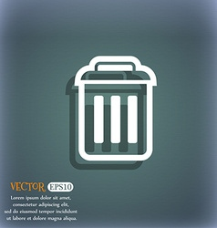 trash icon symbol on the blue-green abstract vector image