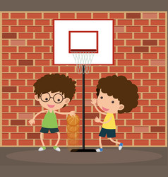 Two boys playing basketball on the road vector