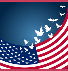 usaamerican flag with flying pigeon for vector image vector image