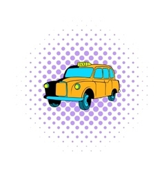 Yellow taxi icon comics style vector