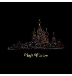 Night moscow red square sketch for your design vector
