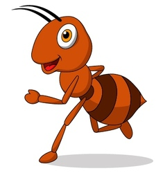 Cute ant cartoon running vector