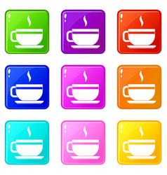Tea cup and saucer icons 9 set vector