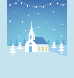 christian church building and snowy hills vector image